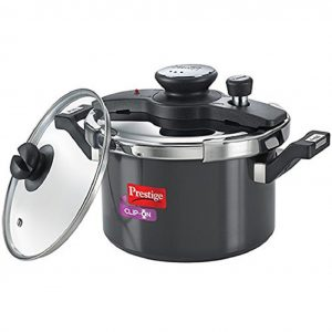 Amazon India : Prestige Clip On Aluminium Pressure Cooker with Glass Lid (5 Litres, 2-Pieces, Charcoal Black) at Rs.2803