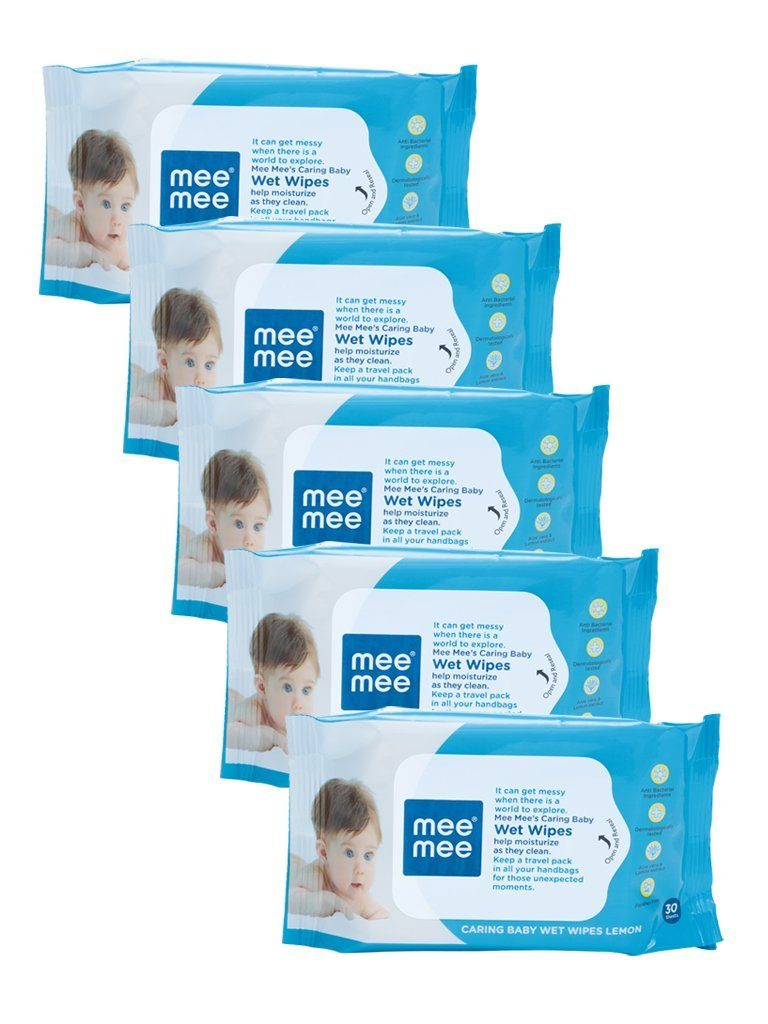 Amazon India  : Mee Mee Caring Baby Wet Wipes with Lemon Fragrance - 30 pcs (Pack of 5) at Rs.196