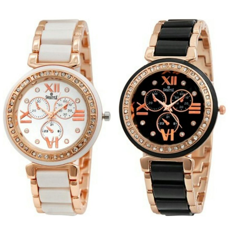 Amazon India : Swisstyle Analogue White Dial & Black Dial Womens Watches(Set of 2) at Rs.519