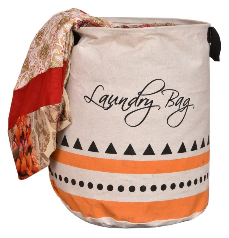 "Amazon India : Yellow Weaves Folding Round "" Laundry Bag ""at Rs.419"