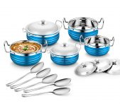 Amazon India : Classic Essentials Stainless Steel Handi Set, 10-Pieces, Blue at Rs.643