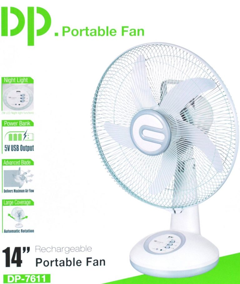 """Amazon India : DP 14"""" Inch Blade Rechargeable Table Fan with LED Light at Rs.3099"""