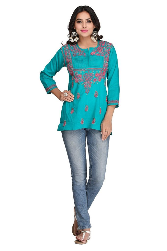 Amazon India : ADA Hand Embroidered Lucknowi Chikan Cotton Short Top Dress at Rs.539