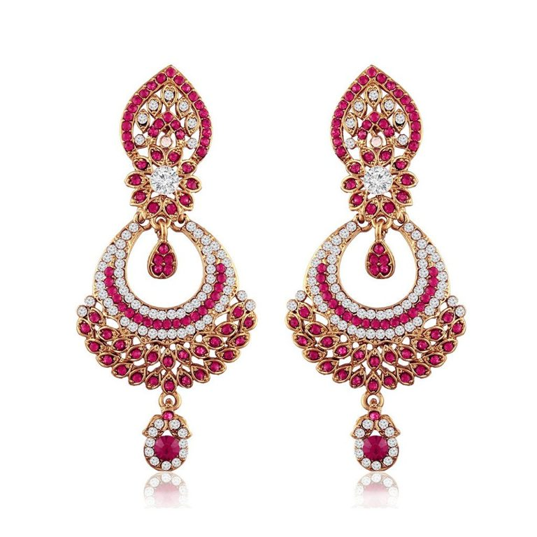 Amazon India : I Jewels Gold Plated Traditional Designer Earrings for Women(Pink) at Rs.229