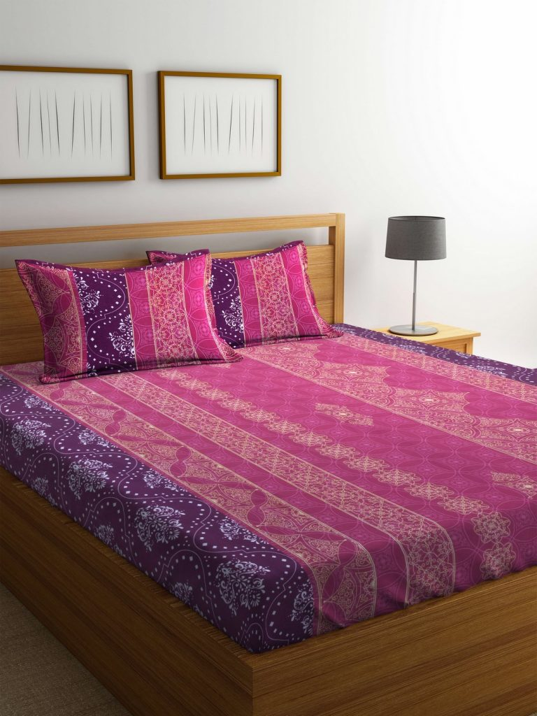 Amazon India : Bombay Dyeing Mimosaa Cotton Double Bedsheet with 2 Pillow Covers, Marron at Rs.549