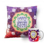 Amazon India : meSleep Rangoli Holi Muticolor Cushion Cover in Satin Fabric with Filler Ceramic Mug at Rs.549