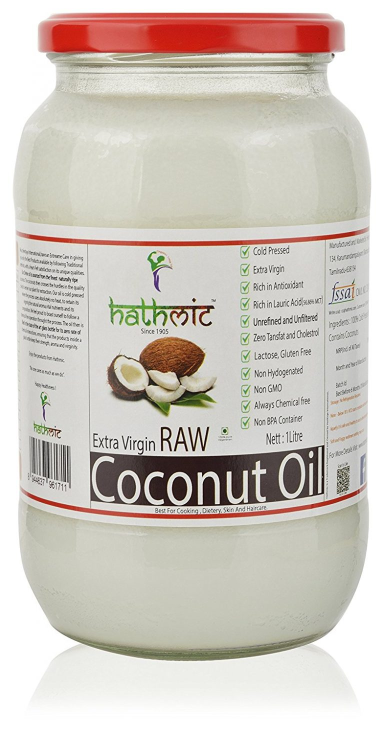 Amazon India : HATHMIC Raw Extra Virgin Coconut Oil (Cold Pressed)1000ml at Rs.771