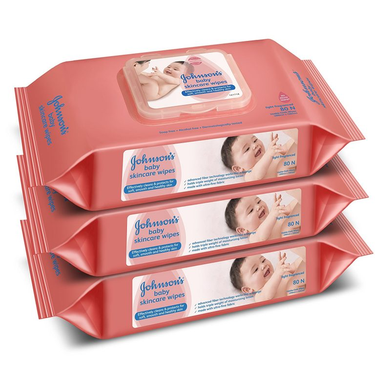 Amazon India : Johnson's Baby Skincare Wipes (Pack of 3, 80 Sheets per Pack) at Rs.502
