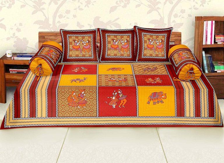 Amazon India : RajasthaniKart Maherab 6 Piece Cotton Diwan Set - Red at Rs.639