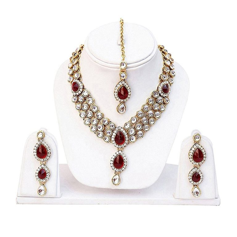 Amazon India : Shining Diva Red Kundan Traditional Necklace Jewellery Set with Earrings for Women at Rs.399