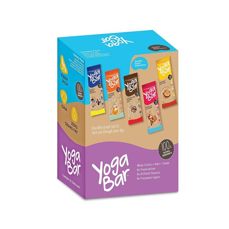 Amazon India : Yogabars Multigrain Energy Bars, Pack of 10 (Chocolate, Vanilla Almonds, Cashew Orange and Nuts & Seeds) at Rs.320