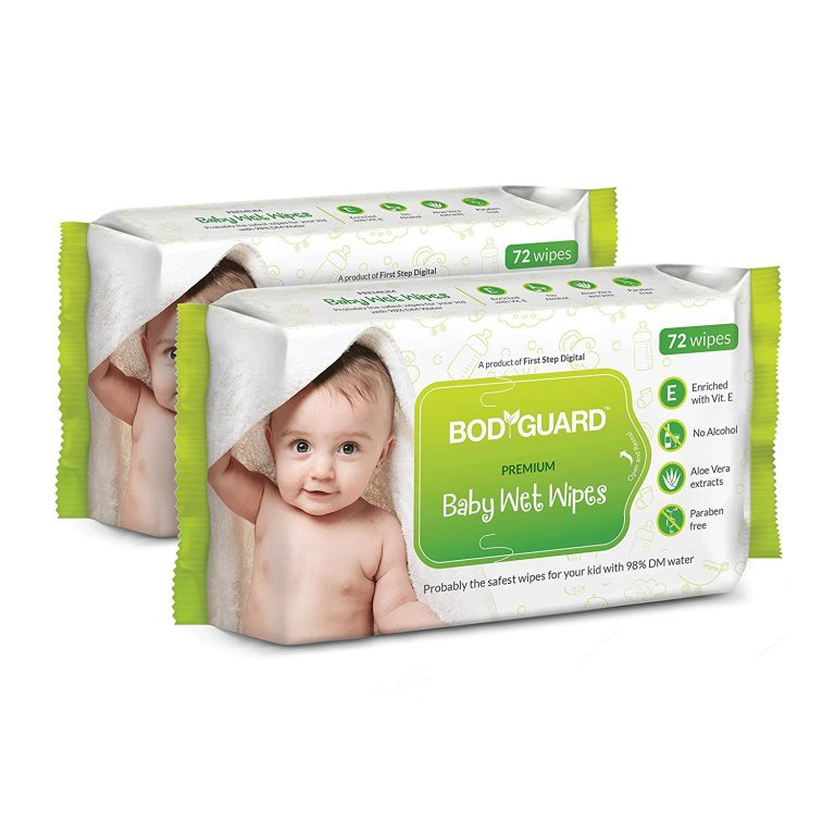 Amazon India : BodyGuard Premium Paraben Free Baby Wet Wipes with Aloe Vera - 144 Wipes (Pack of 2) at Rs.195