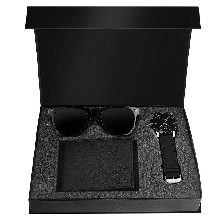 Amazon India : LORENZ Analogue Black Dial Men's Watch, Wallet And Wayfarer Sunglasses at Rs.549
