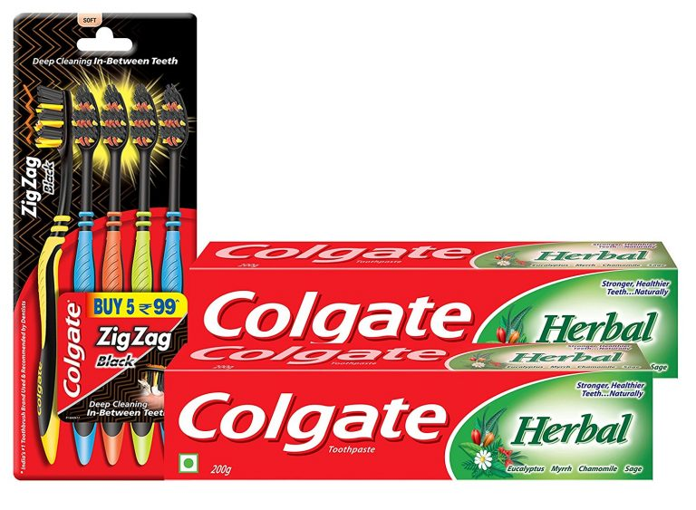 Amazon India : Colgate Herbal Toothpaste 200 g (Pack of 2) plus Colgate ZigZag Black Medium Tooth Brush (Pack of 5) at Rs.220