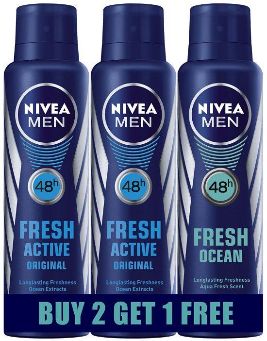 Amazon India : Nivea Fresh Active Deodrant, 150ml (Buy 2 Get 1 Free) at Rs.359