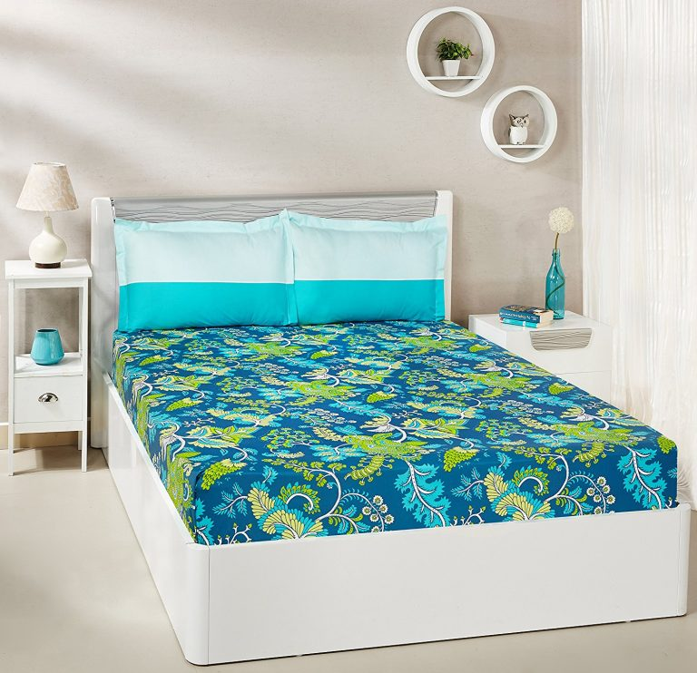 Amazon India : Amazon Brand - Solimo Floral Foliage 100% Cotton Double Bedsheet with 2 Pillow Covers, Teal at Rs.645