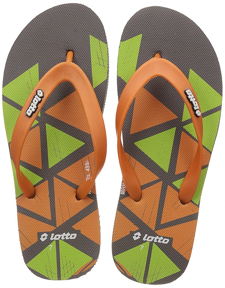 Amazon India : Lotto Men's Dark Grey/Orange/Lime Hawaii House Slippers at Rs.99