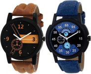 Flipkart : just like New Stylish Leather Strap Color Blue-Brown watches pack of 2 Watch - For Boys at Rs.269