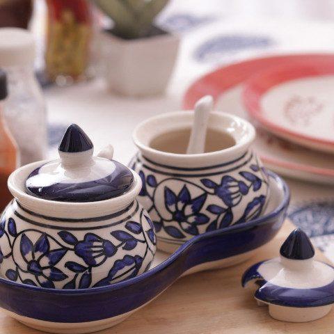 Myntra : VarEesha Set of 2 Blue Printed Pickle Storage Jars with Tray at Rs.521