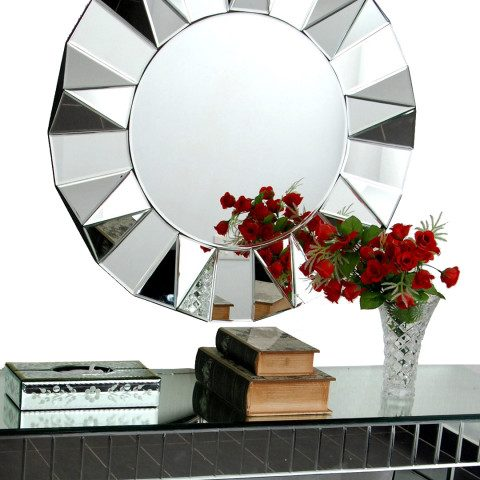 Myntra : Venetian Design Silver-Toned Glass Wall Mirror at Rs.18000