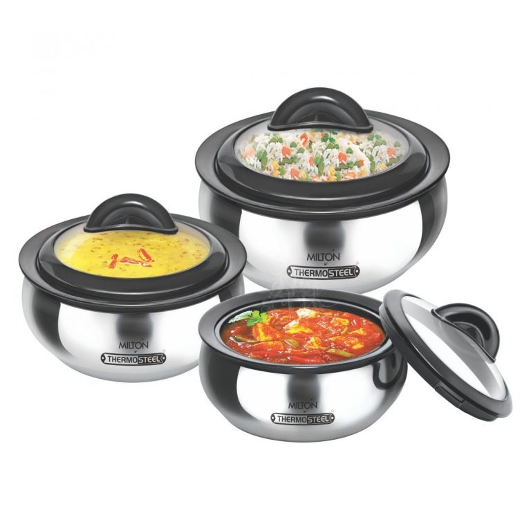 Amazon India : Milton Clarion Jr Stainless Steel Gift Set Casserole with Glass Lid, Set of 3,Steelplain at Rs.1559