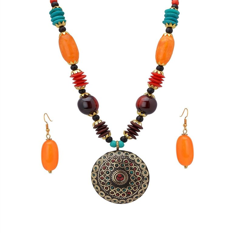 Amazon India : Zephyrr Fashion Tibetan Necklace and Earring Set Combo at Rs.341
