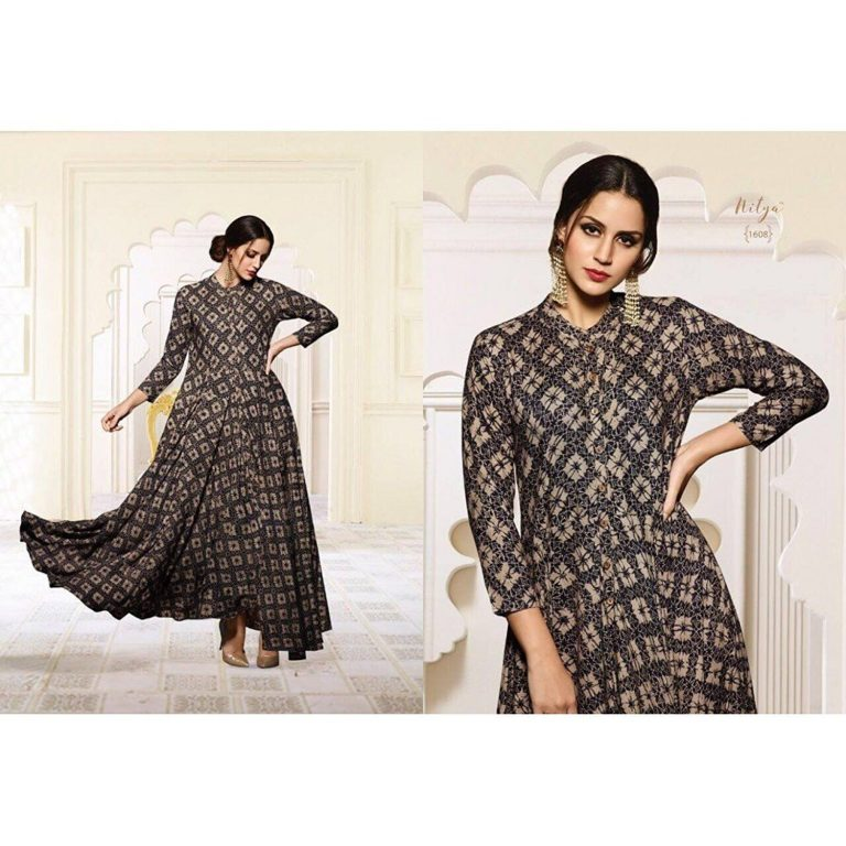 Amazon India : Royal Export Women's Black Party Wear Cotton Gown at Rs.999