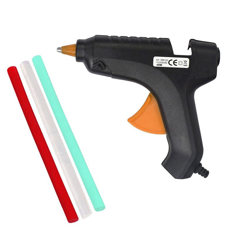 Amazon India : Asian Hobby Crafts 40 Watt Hot Melt Glue Gun with Glue Stick,Multi Color (3 Pieces) at Rs.240.03
