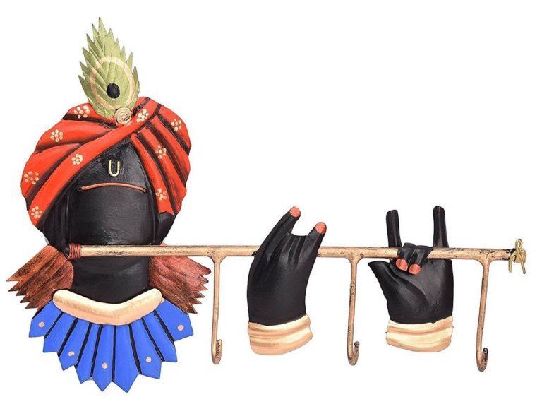 Amazon India : JaipurCrafts Designer Lord Krishna Wrought Iron 3 Hooks Key Holder at Rs.314