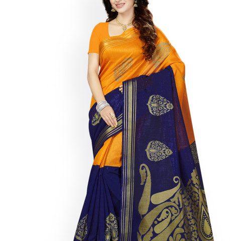 Myntra : Ishin Orange & Blue Art Silk Woven Design Bhagalpuri Saree at Rs.580