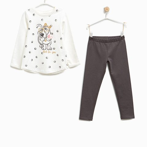 Myntra : OVS Girls Off-White & Charcoal Grey Printed Tracksuit at Rs.599