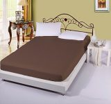 """Amazon India : AVI 100% Cotton 300 Tc Single Fitted Bedsheet 36""""x72"""" Pattern-Stripe with 1 Pillow Covers (Brown) at Rs.873"""