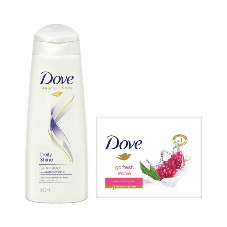 Amazon India : Dove Daily Shine Shampoo, 340ml with Go Fresh Revive Beauty Bar, 100g (Pack of 3) at Rs.342.80