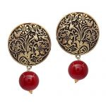 Amazon India : V L IMPEX Gold Plated Handmade Art Work Coin Style Stud With Black Beads Earrings at Rs.269