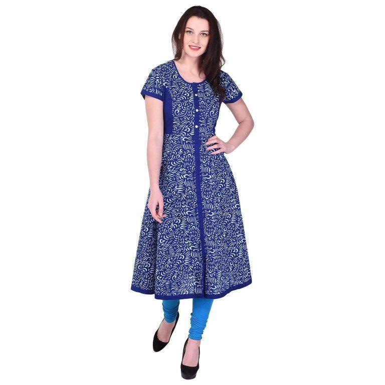 Amazon India : Palakh Women's Cotton Anarkali Floral Print Kurti (Blue) at Rs.699