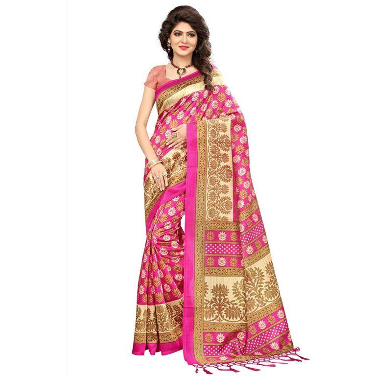 Amazon India : HITESH ENTERPRISE MYSORE ART SILK PINK at Rs.449