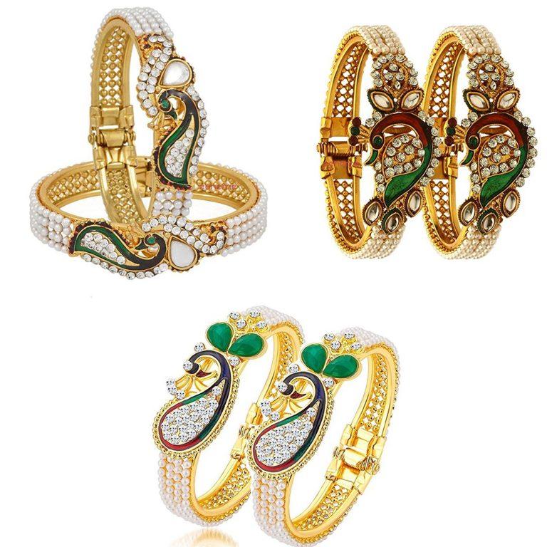 Amazon India : Zeneme Dancing Peacock Fashionable Bangle Set Bracelet Jewellery for Women & Girls Set of 3 at Rs.359