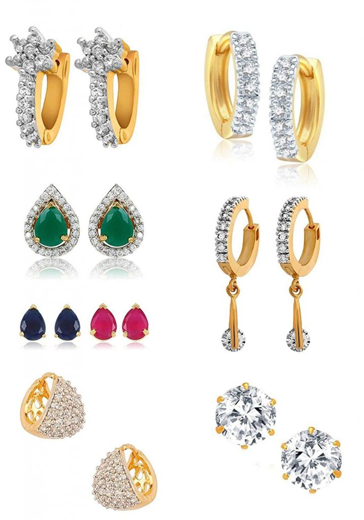Amazon India : YouBella Golden Plated Hoop Earrings for Women (Multi-Colour) at Rs.482