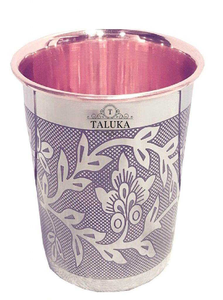 Amazon India : Taluka Etching Embossed Design Steel Copper Glass Tumbler Cup at Rs.261
