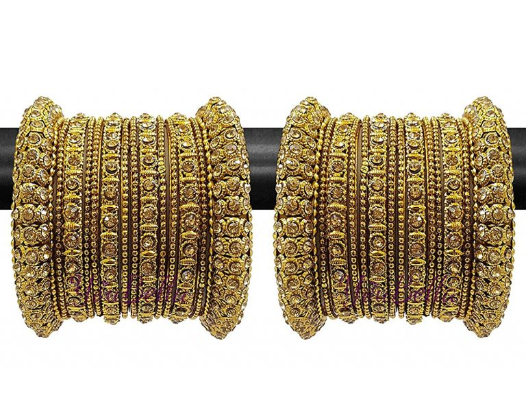 Amazon India : YouBella Fashion Jewellery Traditional Gold Plated Bracelet Bangles set at Rs.347