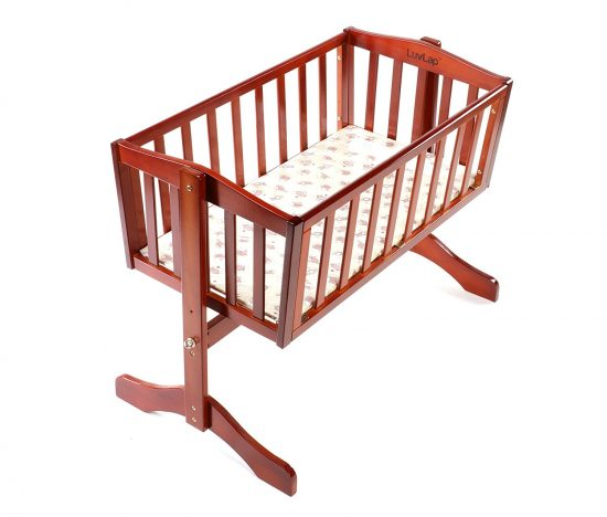 Amazon India : LuvLap Baby Wooden Cot C-10 with Swing & Mosquito Net (Cherry Red) at Rs.5699