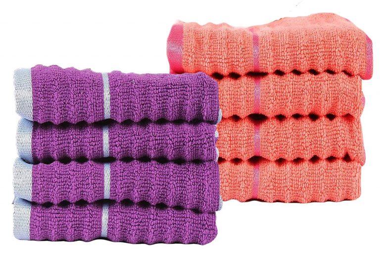 Amazon India : Casa Copenhagen Linea Ribbed Zero Twist Cotton 8 Piece Face Towel Set at Rs.559