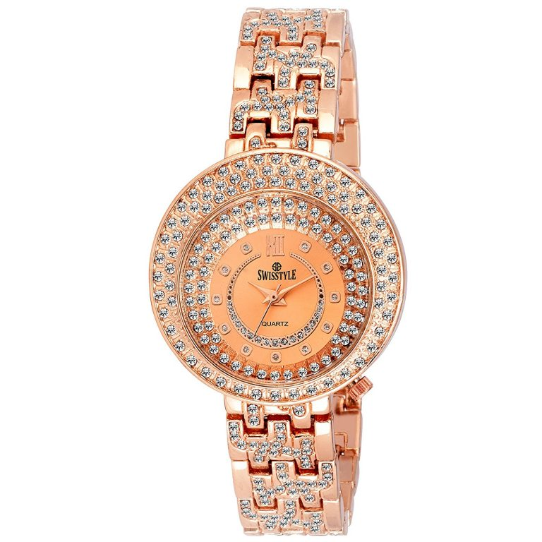 Amazon India :SWISSTYLE Analogue Copper Dial Women's Watch at Rs.359.10