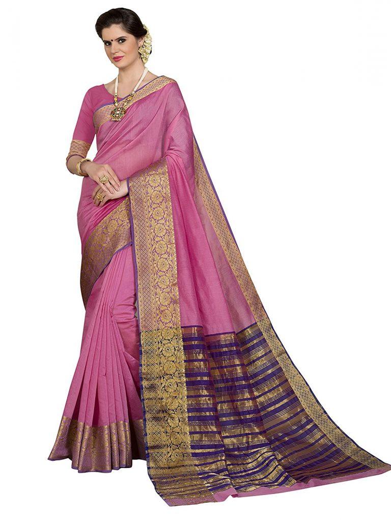 Amazon India : Pisara Women Silk Saree With Blouse Piece,Pink sari at Rs.1049