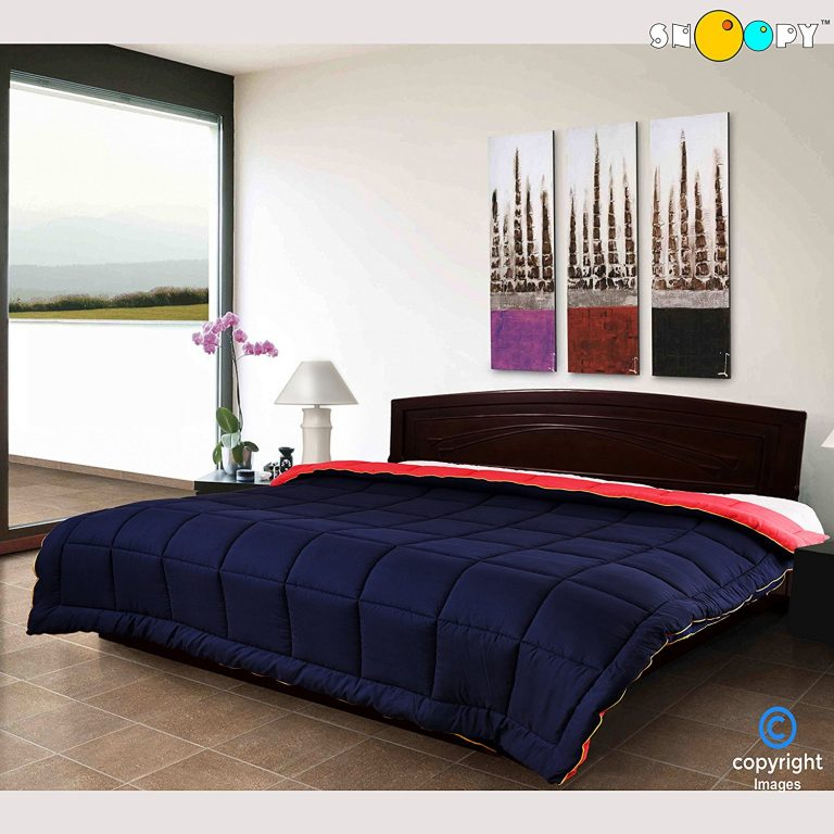 Amazon India : Snoopy Home Ultra Soft Microfibre Reversible Double Bed Comforter - King Size, Navy Blue and Red at Rs.1542