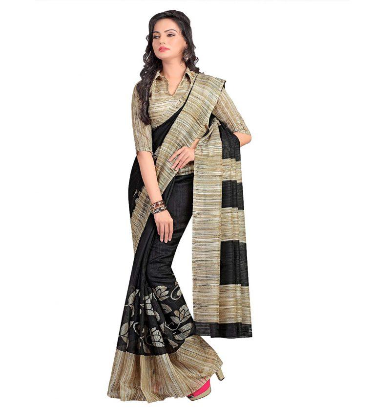 Amazon India : Miraan Women's Kora Silk Saree With Blouse Piece at Rs.499