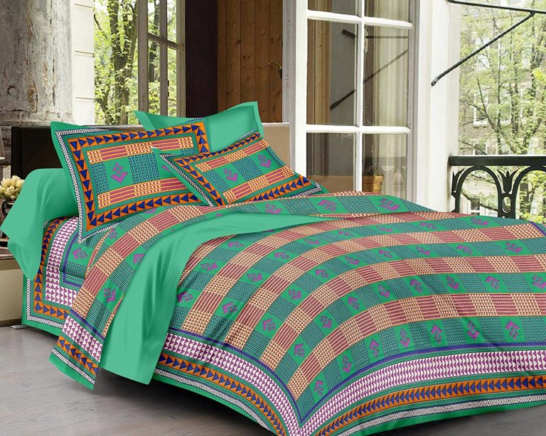 Amazon India : RajasthaniKart Sanoreeta Soft 144 TC Cotton Double Bedsheet and 2 Pillow Covers - Green at Rs.409