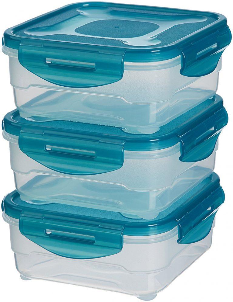 Amazon India : AmazonBasics 3pc Airtight Food Storage Containers Set, 3 x 0.80 Liter at Rs.449