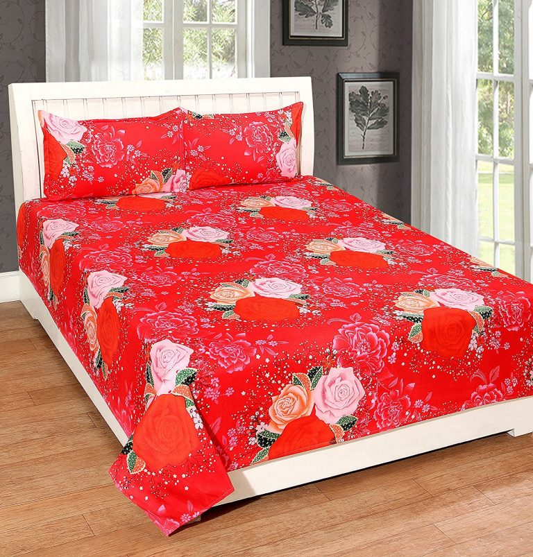 Amazon India : Cozyland 3D Print 120 TC Polycotton Double Bedsheet with 2 Pillow Covers - Multicolour at Rs.471