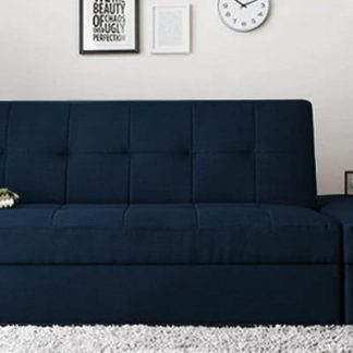 Pepperfry : Maceio Storage Sofa cum Bed with Ottoman in Blue Colour by CasaCraft at Rs.46249